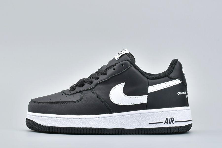 Supreme x CDG x Nike Air Force 1 Low Split Swoosh Black White For Sale