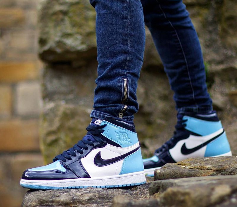 On Foot Look At The Air Jordan 1 Blue Chill Patent Leather