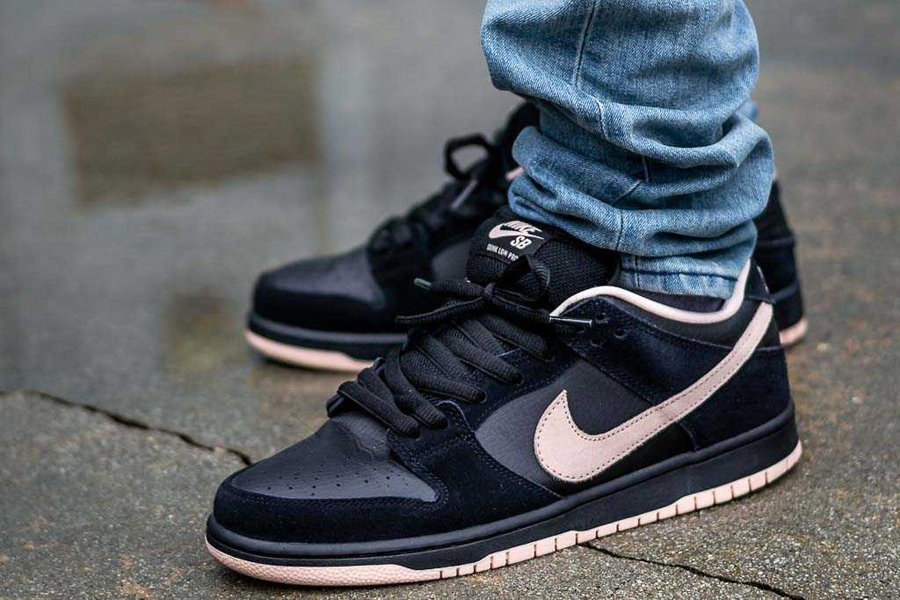 Nike SB Dunk Low Black Washed Coral On Feet