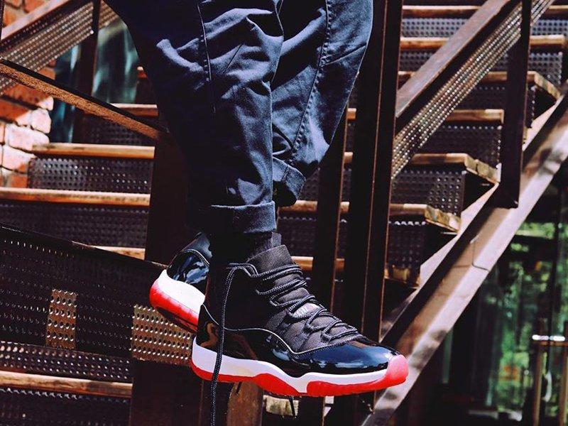 378037-061 Air Jordan 11 Bred 2019 On Feet