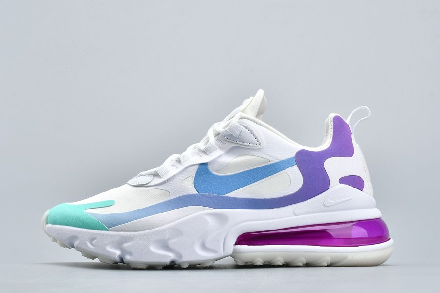 Buy Nike Air Max 270 React Wmns White Light Blue-Aurora Green Online
