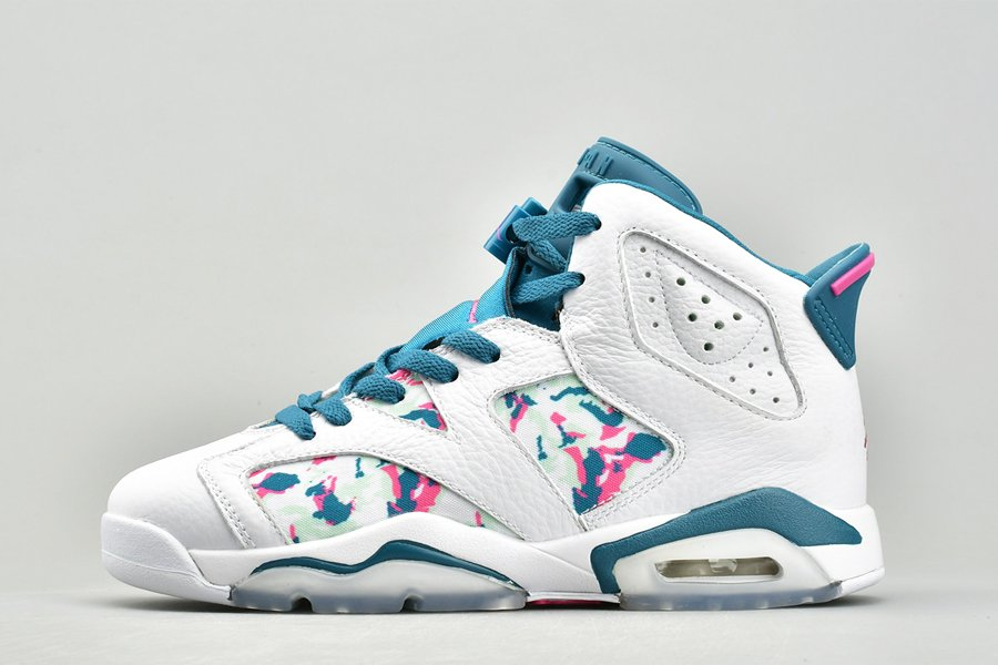 Grade School Youth Size Air Jordan 6 Retro GS Green Abyss For Sale