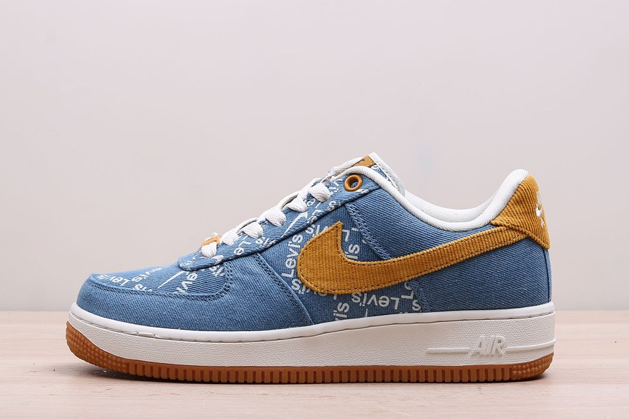 Levis x Nike By You Air Force 1 Low Denim Blue Yellow Gum For Sale