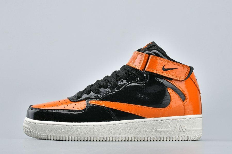 New Nike Air Force 1 Mid Backwards Swoosh Black Orange On Sale