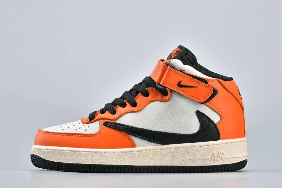 Nike Air Force 1 Mid Reverse Swoosh Logo White Orange On Sale