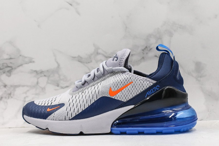 Nike Air Max 270 Wolf Grey Midnight Navy-Total Orange For Sale