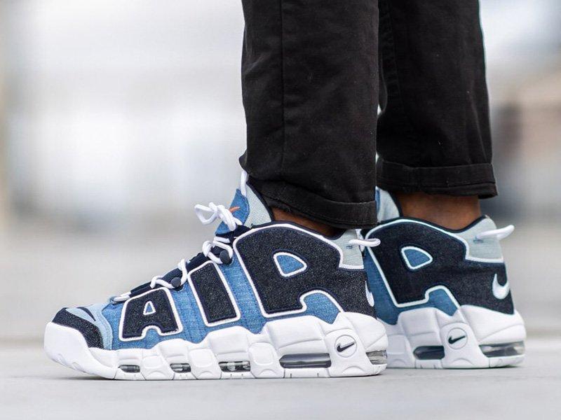 Nike Air More Uptempo Denim On Feet