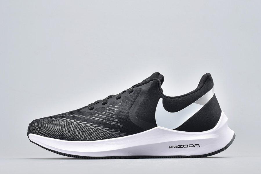 Nike Air Zoom Winflo 6 Black White-Dark Grey-Mtlc Platinum For Sale