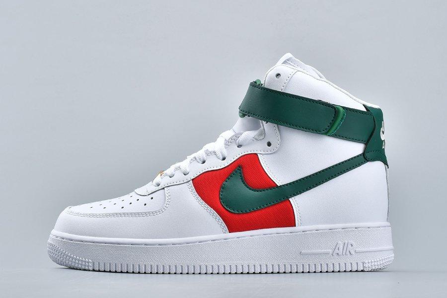 Nike Air Force 1 High ID White Green Red Cheap Sale