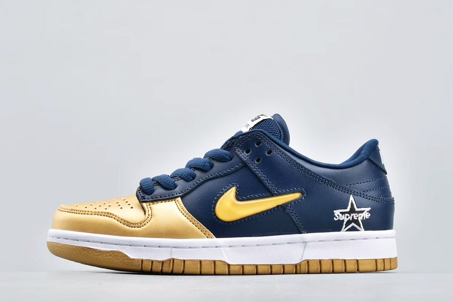 Nike SB Dunk Low Supreme Jewel Swoosh Metallic Gold Navy To Buy