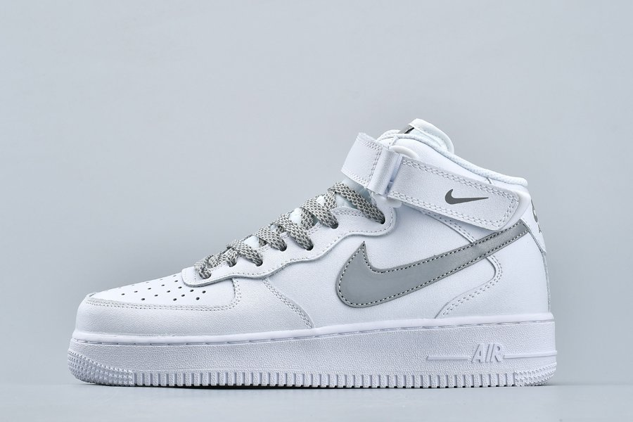 White Nike Air Force 1 Mid With Reflective Swooshes To Buy
