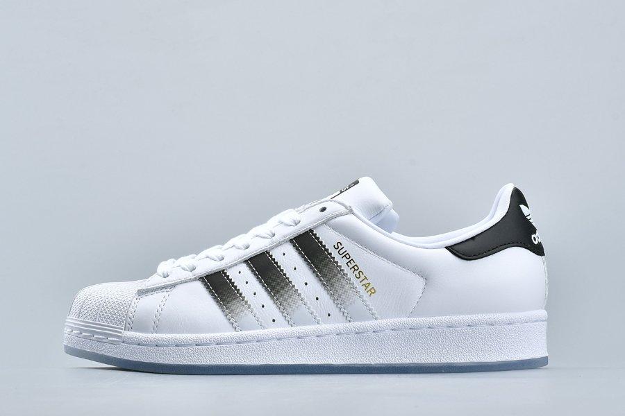 adidas Superstar Gradient White Black Plain Leather Sneakers