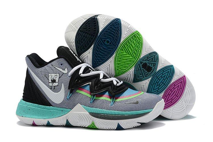 Custom Nike Kyrie 5 DoodleBob Grey Black White For Sale