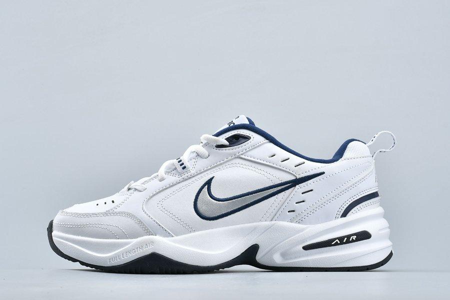 Nike Air Monarch IV 4 White Metallic Silver-Navy 415445-102 On Sale