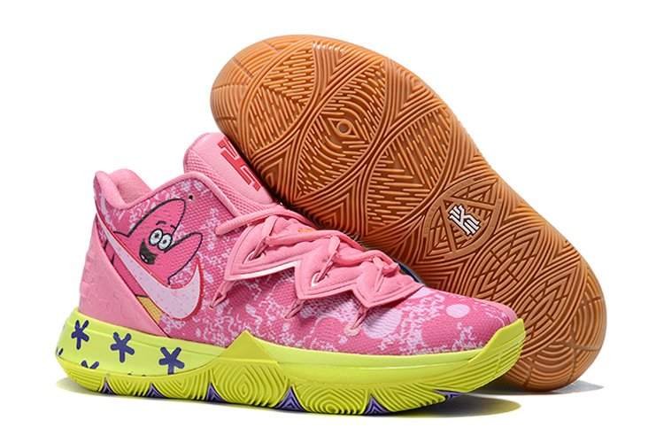 Nike Mismatched Kyrie 5 Spongebob and Patrick Yellow Pink For Sale