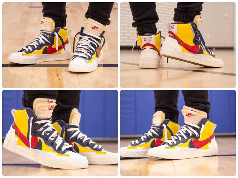 Sacai x Nike Blazer with The Dunk Varsity Maize On Feet