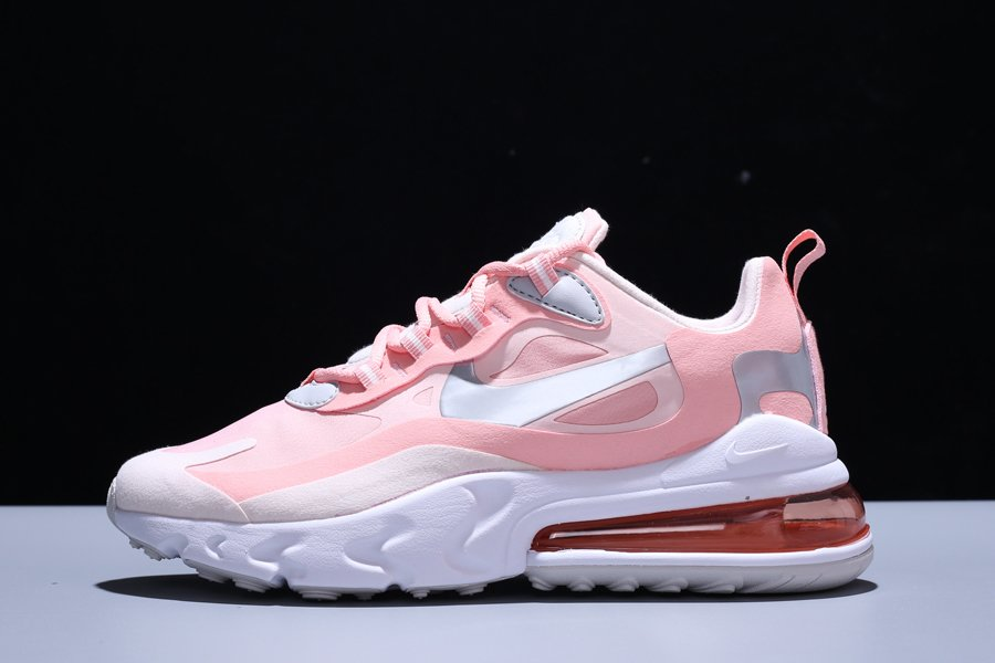 Womens Nike Air Max 270 React Bleached Coral Echo Pink-White For Sale