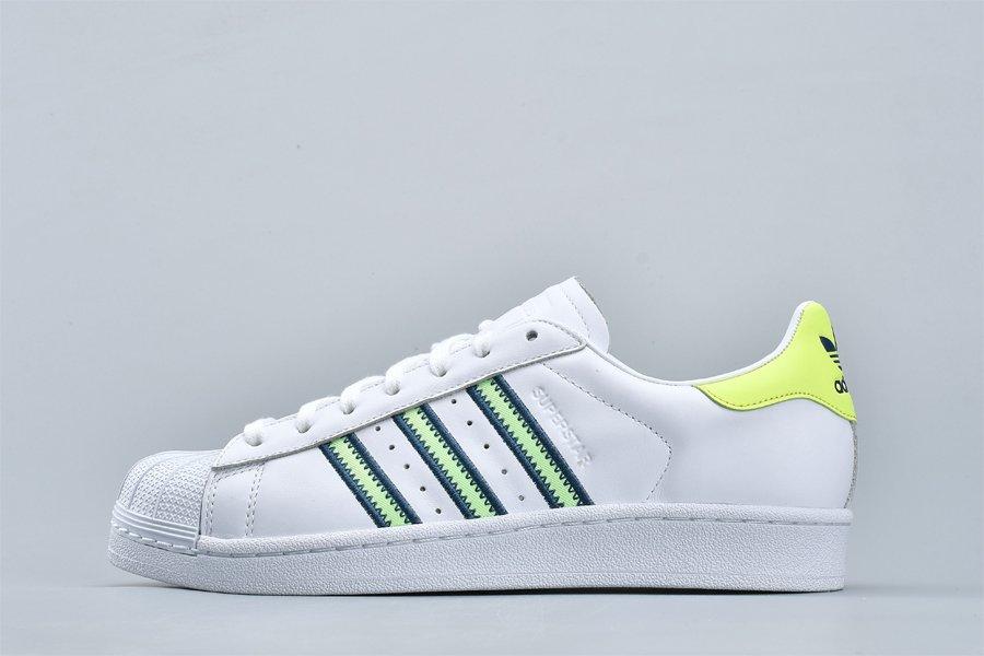 adidas Originals Superstar White Volt Low-Top Athletic Shoes For Sale