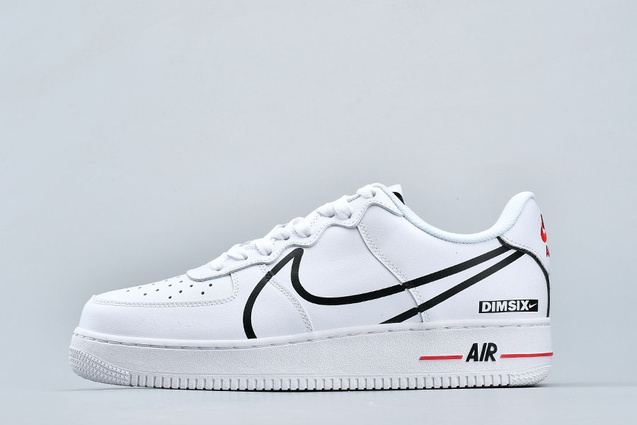 2020 Nike Air Force 1 React White Black-University Red On Sale