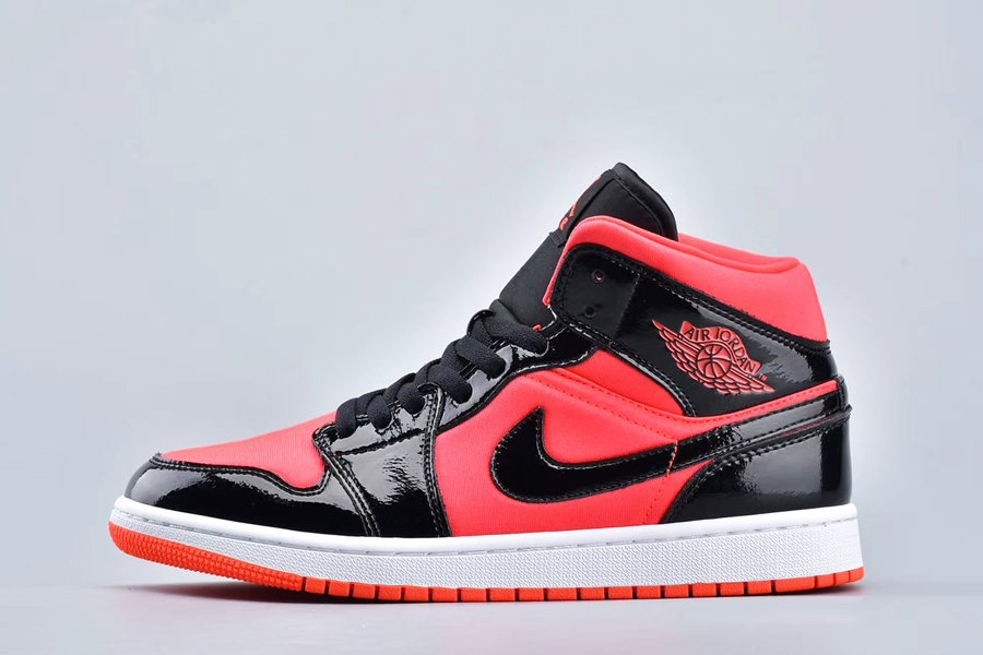 Air Jordan 1 Mid Hot Punch and Black Patent Leather On Sale