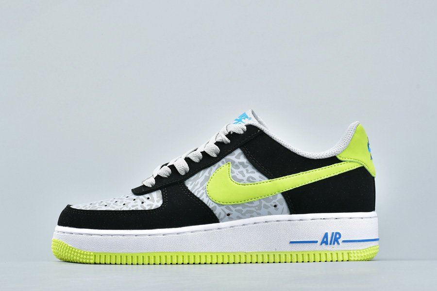 Buy Nike Air Force 1 Low Reflective Silver Elephant Print Black Volt