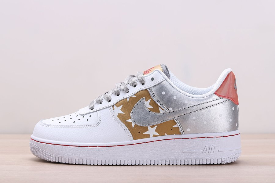 Buy Online Nike Air Force 1 Low Stars and Spots White Metallic Silver