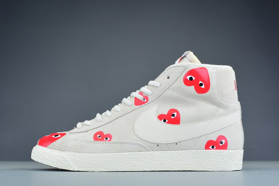 Comme des Garcons PLAY Heart Face Nike Blazer High Sail Red For Sale