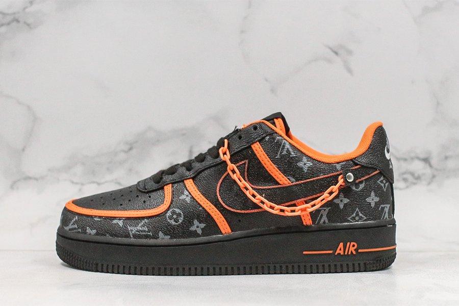 Custom Nike Air Force 1 07 SE L-V Black Orange New Sale
