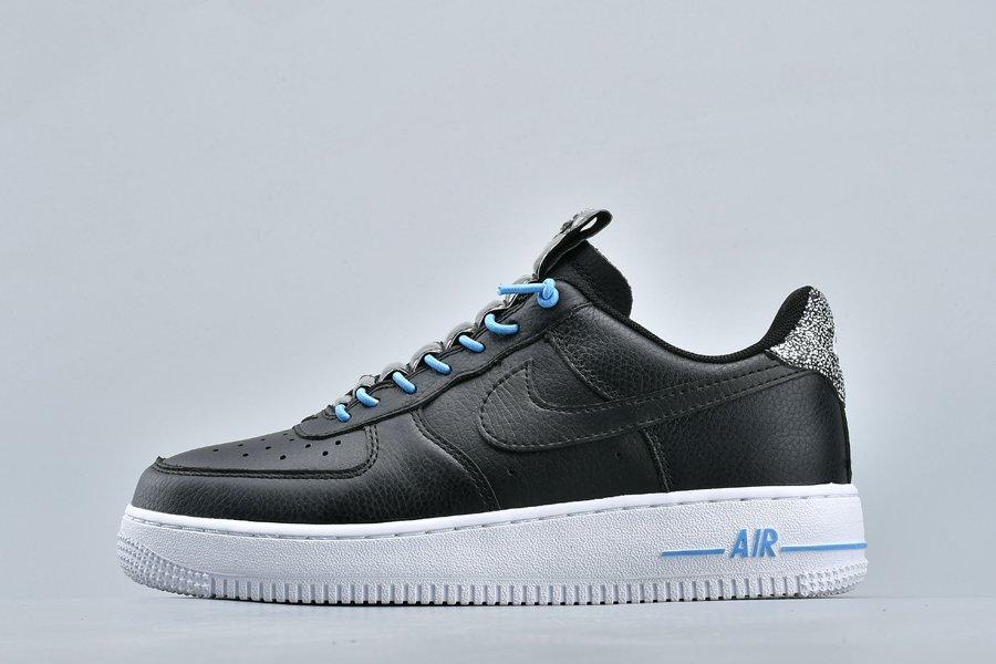 Men and Womens Nike Air Force 1 07 LX Black Light Blue-White Sale