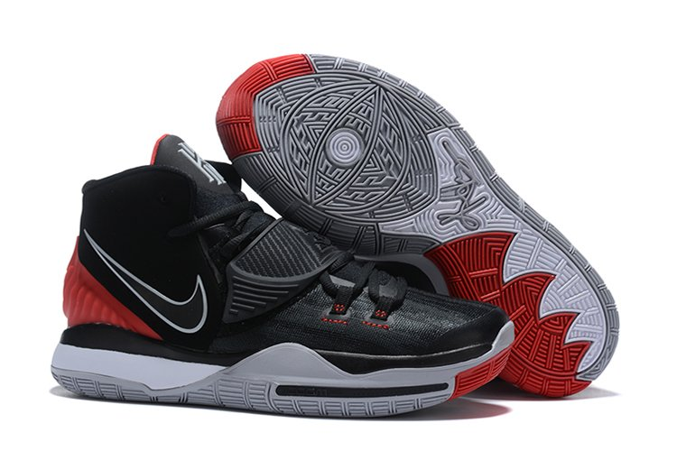 Mens Nike Kyrie 6 Black Cement Grey University Red-White Sale