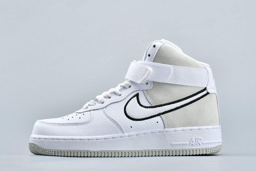 Nike Air Force 1 High White Vast Grey-Black AO2442-100 For Sale