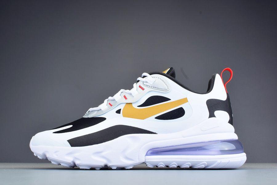 Nike Air Max 270 React Metallic Gold Swoosh White Black For Sale