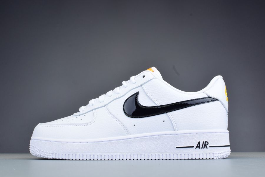 White Nike Air Force 1 Low With Black Swoosh Logo Patent Leather