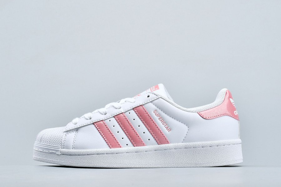 Womens adidas Originals Superstar White Pink Fashion Sneakers On Sale