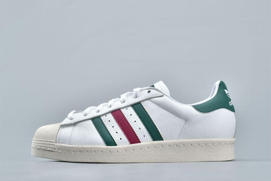 adidas Superstar 80s Italian Stripes White Collegiate Green Mystery Ruby For Sale