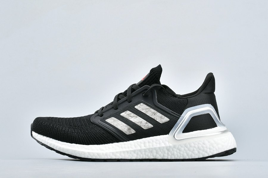 adidas Ultra Boost 2020 Black Silver White Running Shoes For Men