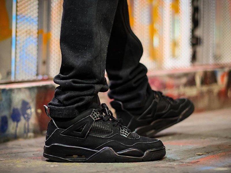 2020 Air Jordan 4 Black Cat On Feet
