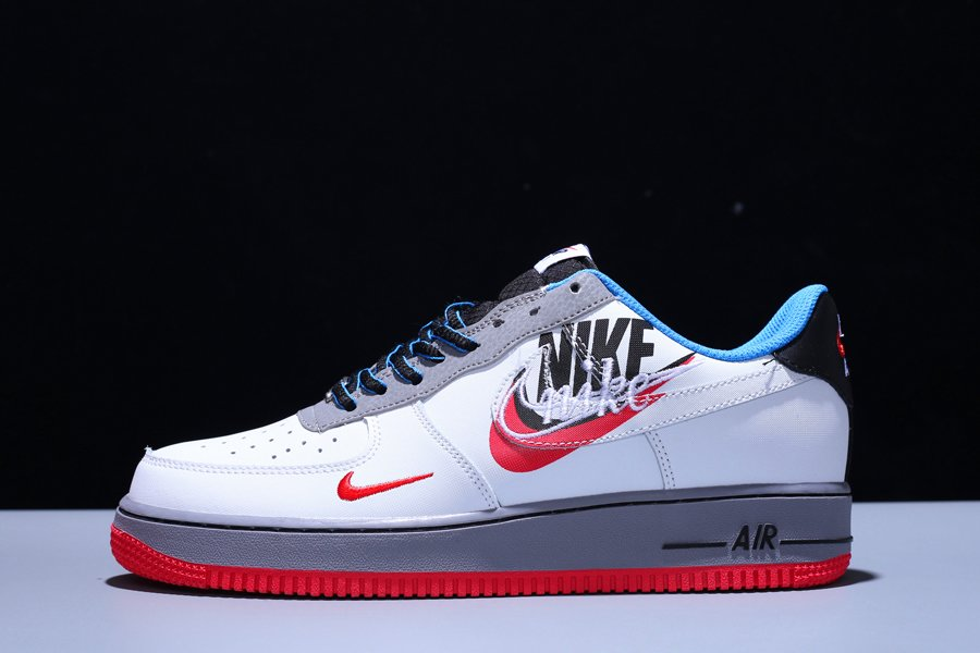 New Design Nike Air Force 1 Time Capsule Script Swoosh White Blue Red For Sale