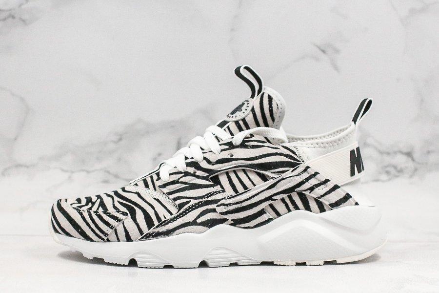 Nike Air Huarache Ultra Running Sneaker Zebra Print White Black For Sale