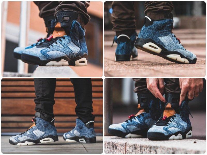 Air Jordan 6 Washed Denim On Feet