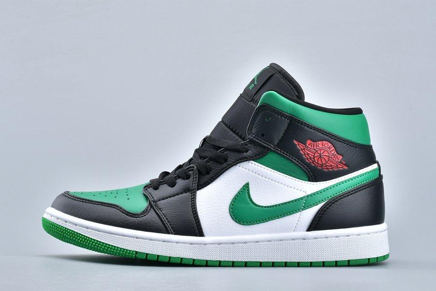 Air Jordan 1 Mid Green Toe Black Gym Red-White-Pine Green