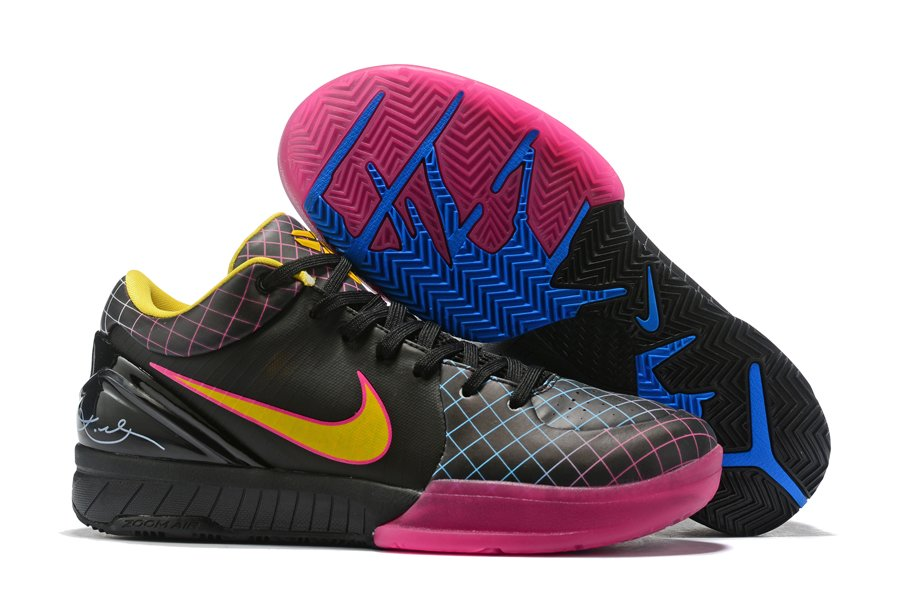Buy Kobe 4 Protro Black Yellow Pink Mens Basketball Shoes