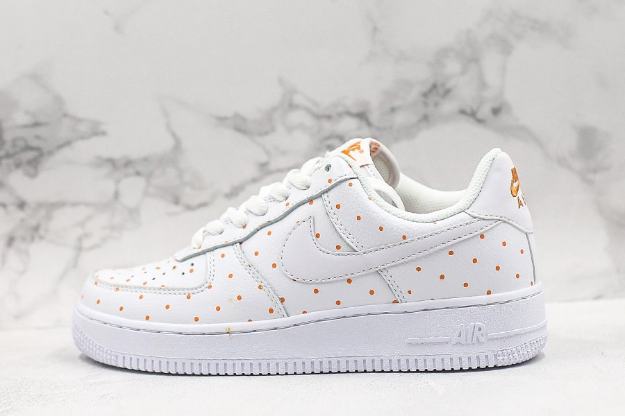 Nike WMNS Air Force 1 07 Low Polka Dots White Orange For Sale