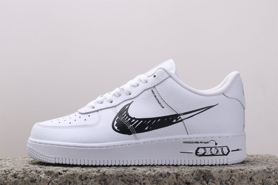 2020 Nike Air Force 1 Low Sketch Pack White Black CW7581-101 To Buy