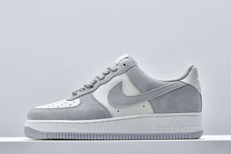 Nike Air Force 1 Low White Light Smoke Grey Suede Pas Cher