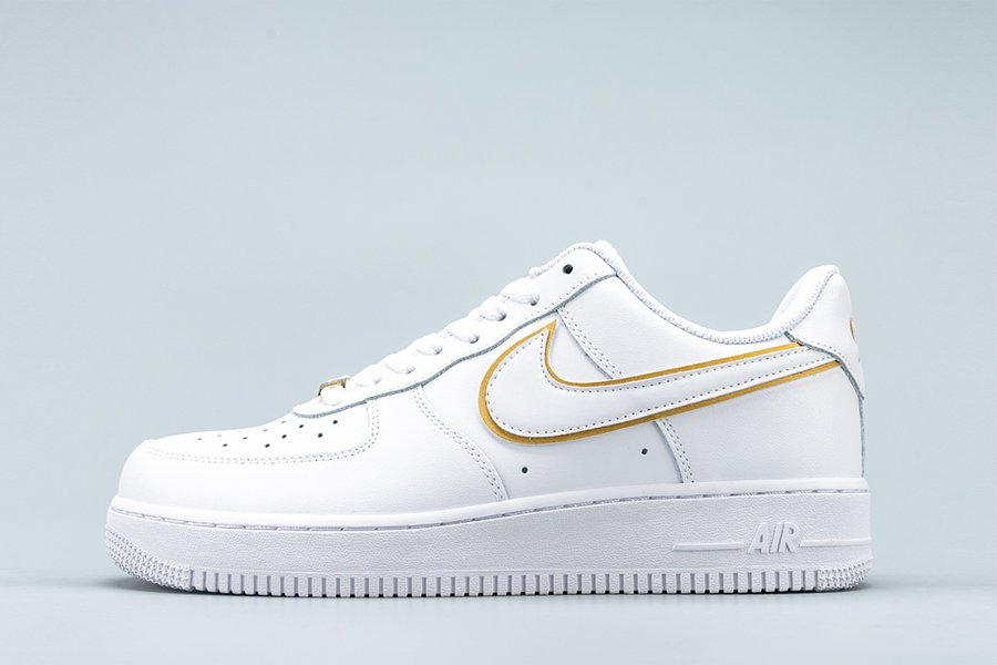 White Nike Air Force 1 07 ESS Metallic Gold Swoosh For Sale