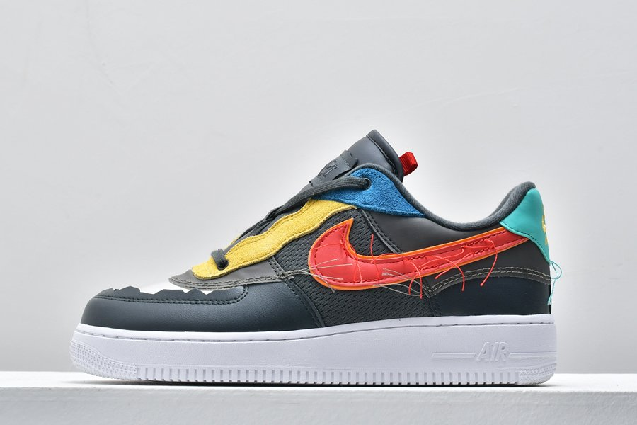 2020 Nike Air Force 1 Low BHM Dark Smoke Grey Track Red For Sale
