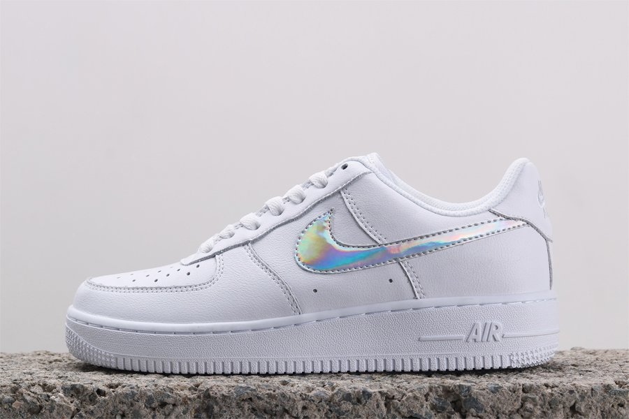 2020 White Nike WMNS Air Force 1 Low Iridescent Swoosh CJ1646-100 For Sale