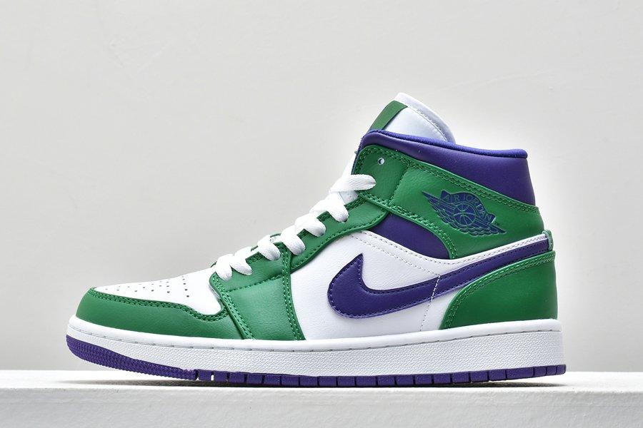 Air Jordan 1 Mid Incredible Hulk Aloe Verde Court Purple-White For Sale