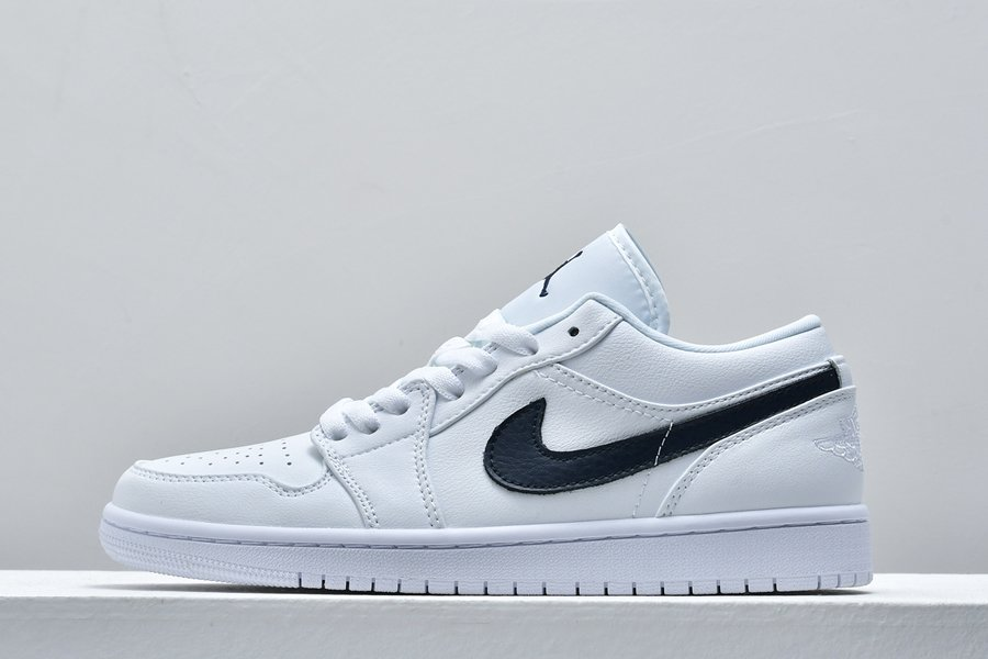 Buy Air Jordan 1 Low White Obsidian With Navy Swooshes